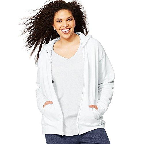 Just My Size Women's Plus-Size EcoSmart Full-Zip Hoodie, White, 3XL