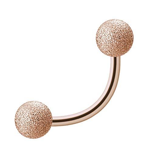Treuheld® roségouden piercing banaan | diamant-look | staal