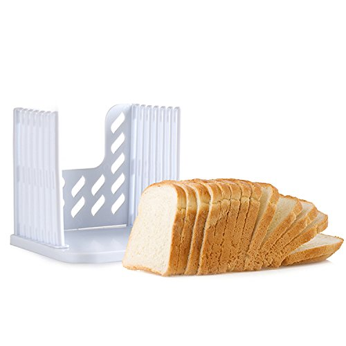 Kitchen Utensils And Tools Folding and Adjustable Bread Sandwich Bagel Slicer Yummy Sam Toast Slicer Machine Maker Homemade Cutter with 4 Thinknesses. (White)