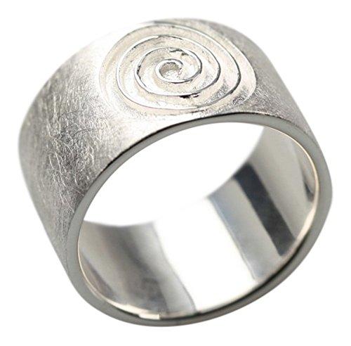 Gebürsteter 925er Silberring im Spiraldesign, Größe:Größe 58 (18.5) mm