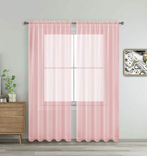 "Blush Rose Pink Window Sheer Treatment Panels Beautiful Rod Pocket Voile Elegance Curtains Drapes for Living Room, Bedroom, Kitchen Fully Stitched, Set of 2 (Blush Pink, 84"" Inch Long)"