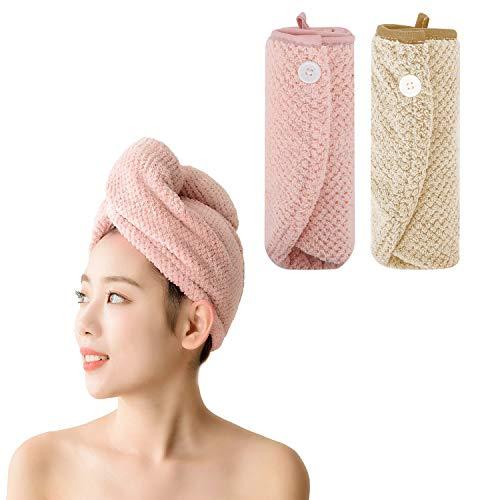 BaiJ Haarturban,2 Stück Mikrofaser Handtuch für Haare Schnelltrocknend,Turban Handtücher mit Knopf Haarhandtuch Handtuchturban Für Alle Haartypen (Pink+Khaki)