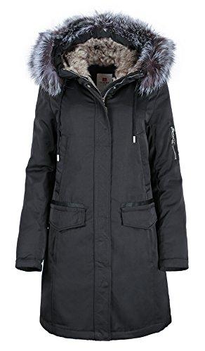 Grimada 7M29 Damen Wintermantel Parka in Daunen-Optik Parka TARORE mit Echtfellkapuze (38, schwarz)