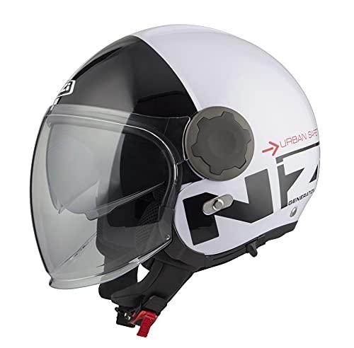 *NZI* - Casco Moto Jet Abierto con Pantalla Solar Interior RINGWAY Tallas XS a XXXL (Negro/Blanco, L 59 cm.)
