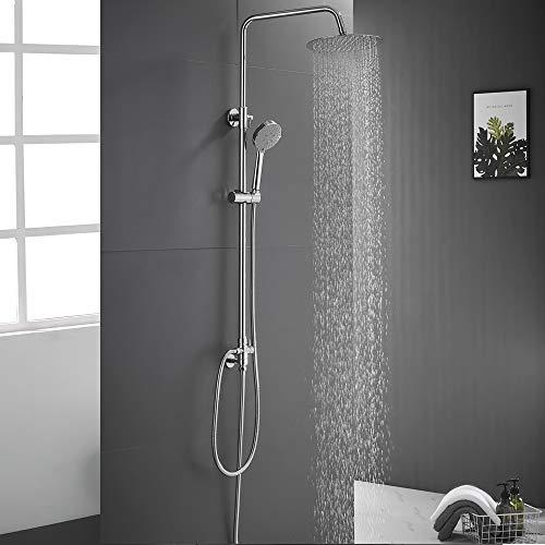 Auralum Edelstahl Duschsystem mit 5 Funktionen Handbrause, Drehbarem Dusch Arm, Verstellbarer Dusche mit 10-Zoll-Regendusche,Duschstange in der Höhe von 880 bis 1260 mm, Duschset ohne Mischbatterie