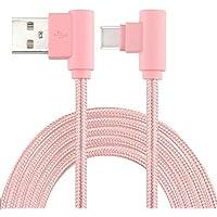 LoongGate angulod USB c Cables, Nylon Trenzado 90 Grado USB Tipo c para el Tipo a para Galaxy Note 8, S8, MacBook, LG V30 V20 G6 G5, Google pixel/2/pixel XL/2, Nexus 6P 5X-1 Metros (3.2 ft)-Oro Rosa
