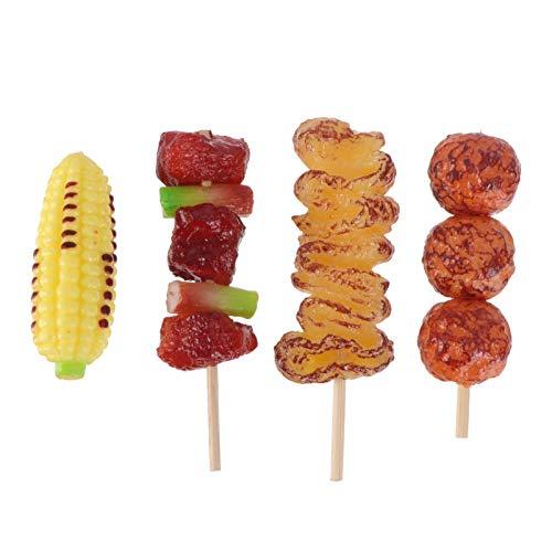 Toddmomy 4Pcs Gefälschte Grill Lebensmittel Lebensechte Braten Rindfleisch Markt Display Modell für Kleinkinder Kinder Spielzeug Küche Kochen Dekoration Fotografie Requisiten Mixed Stil
