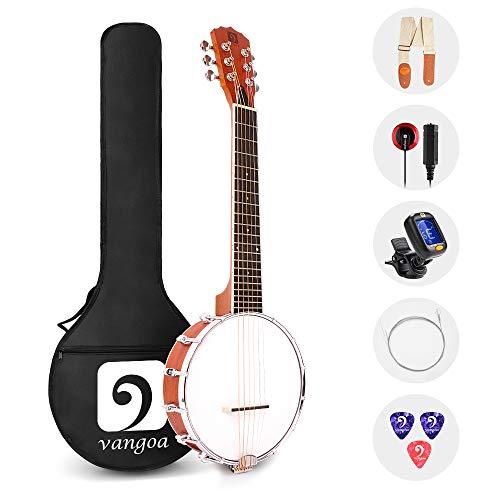 Vangoa 6 Saitige Banjo Sapele Mini 26 Zoll Banjo-Gitarre mit Anfänger Kits