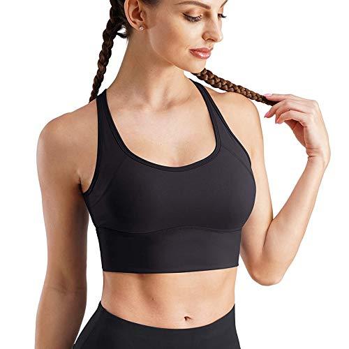 Gotoly Sujetador Deportivo para Mujer Camiseta sin Costura Sujetador para Yoga Almohadilla Extraíble Bra Sport Bra Ropa interio con Material Cómodo (Negro, Large)