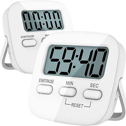 Möge Timer da Cucina Digitale 2 Pezzi | Magnetico | Cronometro e Conto alla rovescia | Allarme sonoro| Tasti Grandi| con Supporto Posteriore e Occhiello| Batterie AAA Incluse