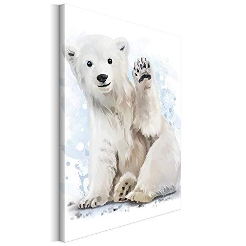 Revolio 60x80 cm Leinwandbild Wandbilder Kinderzimmer Modern Kunstdruck Design Wanddekoration Deko Bild auf Leinwand Bilder 1 Teilig - Jungbär Polarbär Eisbär Babyzimmer weiß
