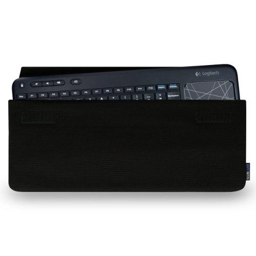 Adore June Hülle für Logitech Wireless Touch Keyboard K400 Plus und K400 Professional Keeb; Praktische Stoff-Tasche zum Mitführen Ihrer Tastatur - Schwarz