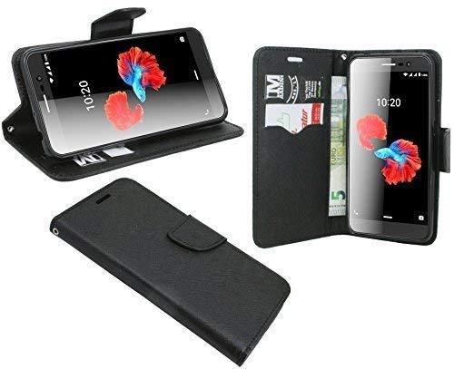 cofi1453 Buchtasche Hülle kompatibel mit ZTE Blade A910 Hülle Tasche Wallet BookStyle mit Standfunktion in Schwarz