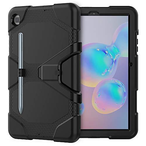 SDTEK Funda para Samsung Galaxy Tab S6 Lite Funda Resistente Y Resistente para Tableta con Protector De Pantalla Incorporado, Portalápices Y Soporte (Negro)