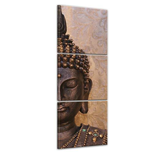 Bilderdepot24 Cuadros en Lienzo Buda - 60 x 180 cm 3 Piezas - Listo tensa, Directamente Desde el Fabricante