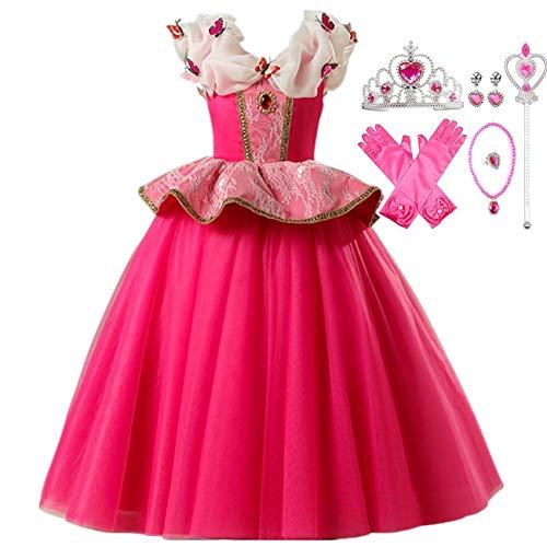 LOBTY Aurora Kostüm Kleider Mädchen Prinzessin Erwachsene Kleid Karneval Verkleidung Party Cosplay Faschingskostüm Festkleid Weinachten Halloween Fest Kleid