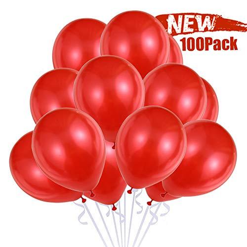 100 Globos Rojos, Globos Helio Latex Perlado Ø 30 cm para Boda Aniversario San Valentin Globos Cumpleaños Fiesta Arco Decoracion