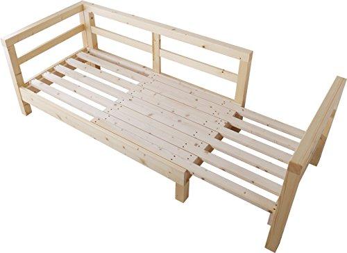 ソファーベッド セミシングル 北欧 2人掛け すのこベッド シェーズロングソファ 木製 伸長式 フレーム