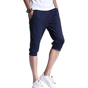 (エムズダイス)M's Dice スウェット パンツ 七分丈 綿 無地 ハーフパンツ 部屋着 トレーニング 大きいサイズ メンズ (06.3XLサイズ, ネイビー)
