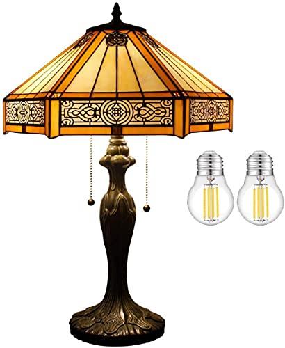 Lámpara de mesita de noche con vitrales para sala de estar de estilo retro clásico para dormitorio Base de metal industrial 24 Escritorio alto de granja amarillo claro