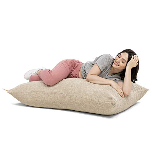Jaxx Saxx 3.5 Foot Giant Décor Floor Pillow, Premium Chenille, Beige