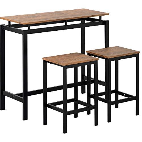 Belissy Bartafel en stoelen van ijzerhout, 3 stuks bartafelsets, keuken pub tafel en 2 barkrukken, 3-delig metalen frame ontbijttafel set, eettafel statafel bistrotafel voor keuken, eetkamer, bar