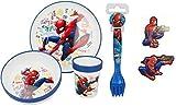 Stor juego de vajilla de melamina de 5 piezas para fans de spiderman con imanes de nevera