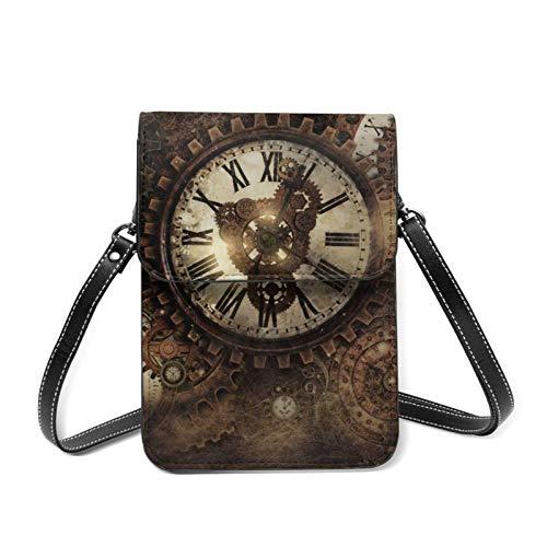 Vintage Steampunk Relojes ligeros Crossbody teléfono celular bolso para las mujeres espaciosos bolsillos bolsas