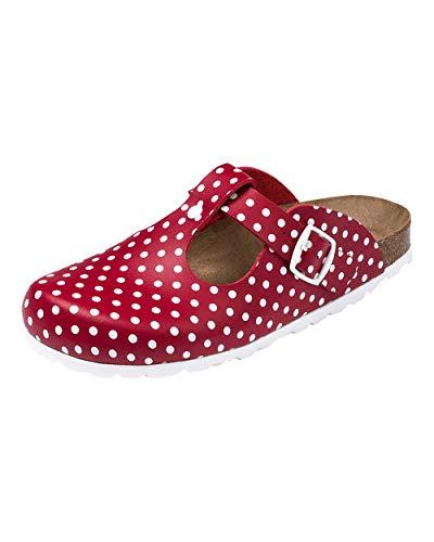 CLINIC DRESS Clog - Clogs Damen bunt. Schuhe für Krankenschwestern, Ärzte oder Pflegekräfte rot/weiß, gepunktet, Polka Dots 39