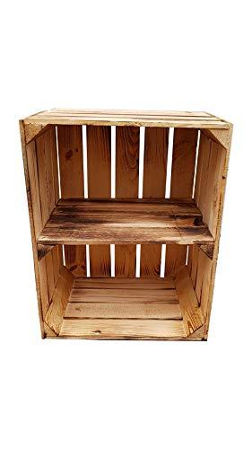 Massive Holzkisten als Schuhregal / Bücherregal LEICHT GEFLAMMT mit Zwischenbrett (verschraubt) Apfelkisten Obstkisten Weinkisten aus dem alten Land Kisten-Regal flambiert Vintage Deko (1er Quer)