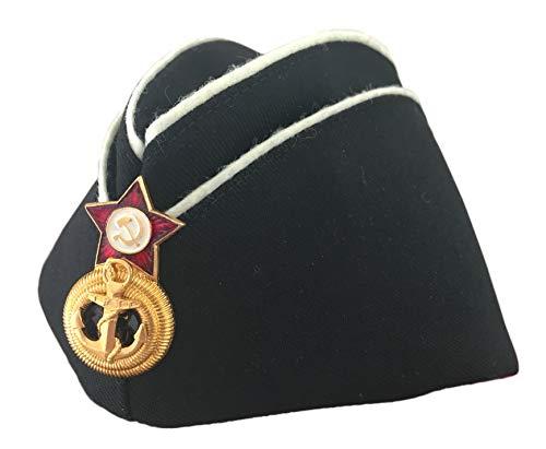Ganwear® Original Russische UDSSR-Marine-Armee-Kappe, Militär/Uniform/Schwarz Pilotka/Hut, Logo roter Stern
