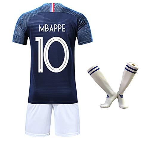 Fußballuniform, Mbappe Griezmann Kante, 2018 Jahr Weltmeisterschaft Frankreich Home Soccer T-Shirt, AtmungsaktivWiederholbare Reinigung-blue10#-18