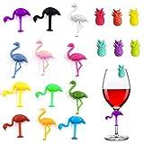 Silikon Weinglas Marker, Getränk Marker, Flamingo/Ananas Glas Marker, Marker Wiederverwendbares Party Empfangsglas, Party Weinglas Marker Getränk Marker Etikett, Party Bar Tischdekoration (18 Stück)