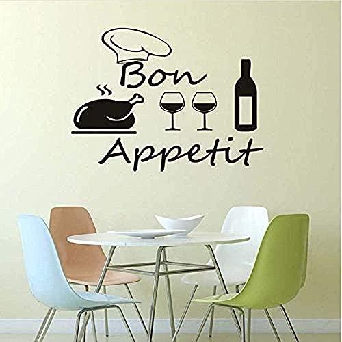 Pegatinas de pared Etiqueta de la pared 59X44 cm comida de mercado copa de vino tinto calcomanías de bricolaje