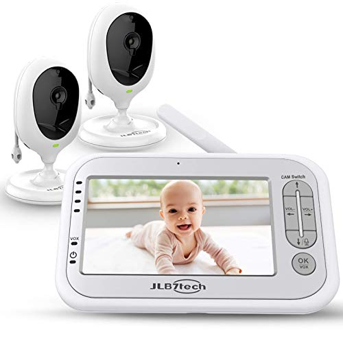 Video Baby Monitor,JLB7tech Baby Monitor with 2 Cameras and Audio,4.3'' LCD Screen, Infrared Night Vision,Two-Way Audio,Temperature Monitoring,Power Saving Mode,Zoom in,Support Multi- Camera