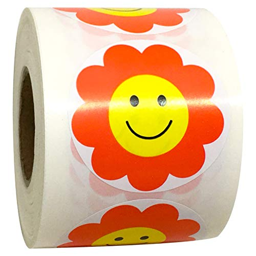2 Inch Red Flower Smiley Face Happy Face Stickers - Teacher Reward Stickers Circle Smile Smiley Stickers 500 Round Happy Face Labels
