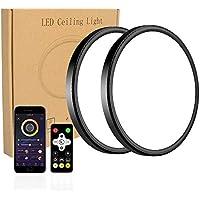 2-Pack Modern 12 Inch 28W Smart LED Flush Mount Ceiling Light