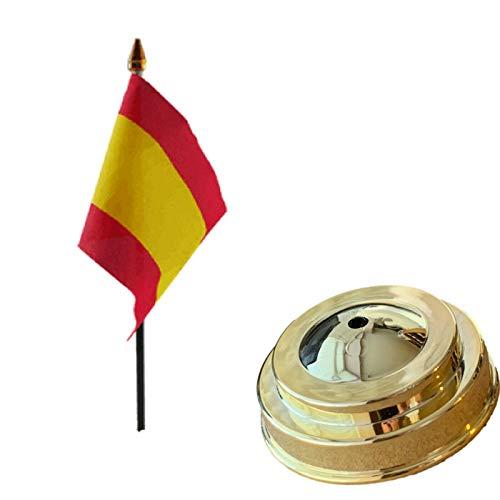 Flagmania Bandera de mesa de escritorio de 15 x 10 cm con base plana de plástico dorado