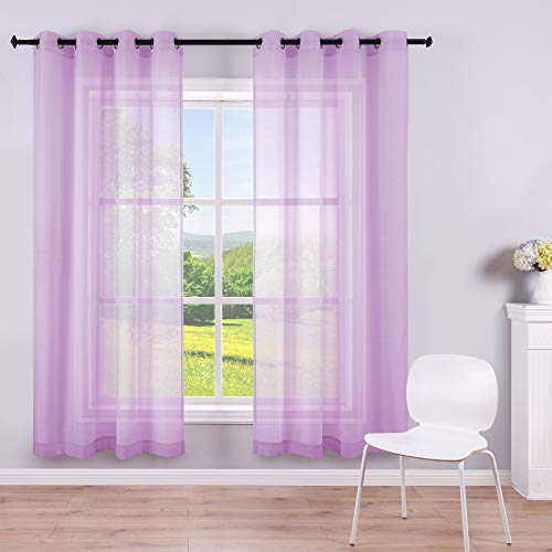 Lilac Purple Sheer Curtains for Girls Bedroom 2 Panels Grommet Voile Semi Sheer Curtains for Kids Room Baby Nursery Teen Toddler Teenager Littel Princess Daughter Closet Pretty Light Lavender 63 Inch