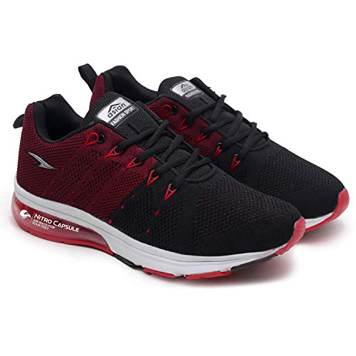 ASIAN Men's Worldcup-03 Black Maroon Sports Shoes Knitted Shoes Sneakers,Ultra-Lightweight, Breathable, Walking, Fabric Running Shoes UK-9