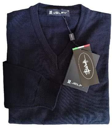 JELFY OTELLINO - Jersey de manga larga para niño, cuello en V, 100 % lana merina, azul marino, talla M (8-9 años)