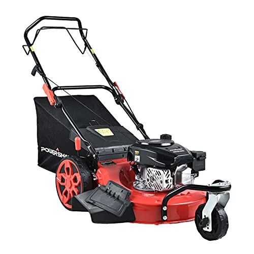 PowerSmart Lawn Mower, 20-inch & 170CC, Gas Powered Self-Propelled Lawn Mower with 4-Stroke Engine, 3-in-1 Gas Mower in Color Red/Black, 8 Adjustable Heights (1.21''-3.15'' ), PSM2020
