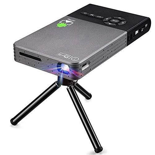Mini proyector de vídeo, proyector Android 7.1, compatible con carga 1080P WiFi integrado, compatible con carga 1080P Bluetooth HDmi USB TF Card para Smart Phone Batería Rec