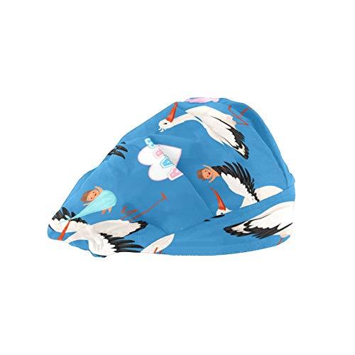 Gorra de trabajo para el pelo largo con banda elástica ajustable gorras de trabajo para los hombres de trabajo bufanda 3D impresa sombreros voladores cigüeña bebé pájaro
