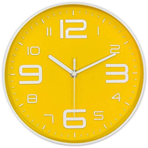 QYQ Reloj de Pared Moderno con Esfera de Esfera de número 3D de 10 Pulgadas, silencioso, sin tictac, Reloj de Pared Redondo con decoración para el hogar con números arábigos (Color : Amarillo)