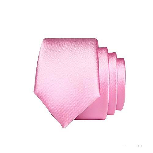 WUNDEPYTIE Rosa Krawatte Männlich Schmale Version 143 * 5Cm Kleine Krawatte Herren Bräutigam Knoten Hochzeit Geschachtelt, Reines Rosa