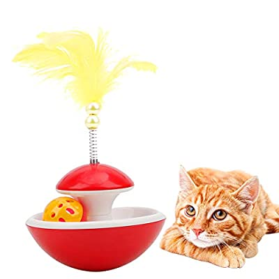 DEMOO Cat Tumbler Toy,Feather Rotating Ball Bell Sound Interactive Cat Toys for Cats of All Ages ?RED?