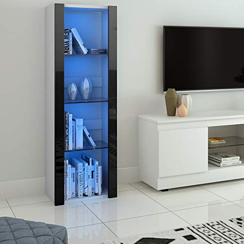 Panana LED Tall Display Cabinet with Glass Shelf Modern Sideboard Cupboard Unit for Living Room Bedroom Furniture (White Matt Body & Black High Gloss Fronts)