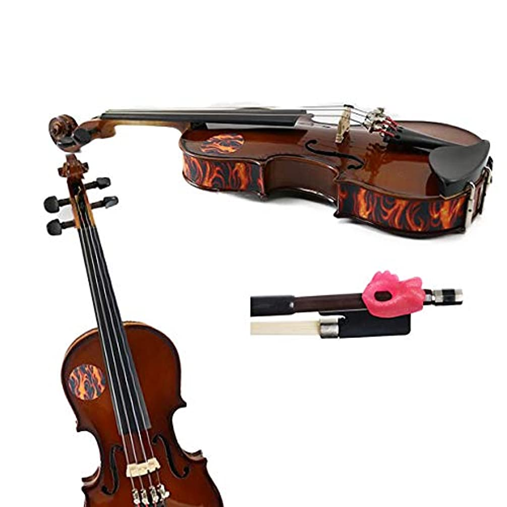 Violin Teaching Aid Pack -Hold Fish Violin Pink Pinky Support w/Flames Violin Skins - Removable Violin Decals - Fits 1/2 Size Violins (Violin not included)
