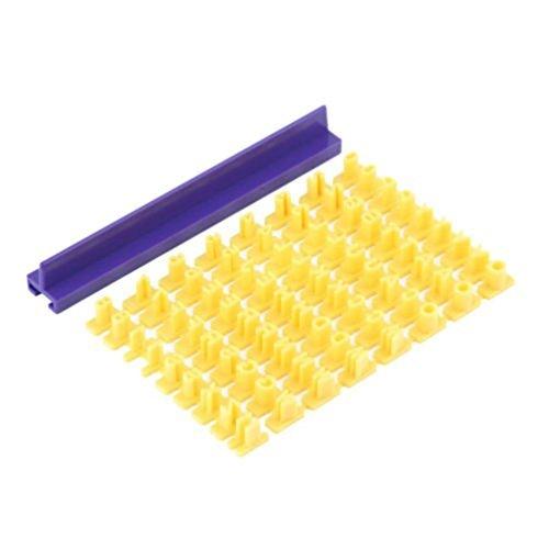 josep.h - Timbri con lettere dell'alfabeto e numeri a pressione, per decorare biscotti, colore: giallo